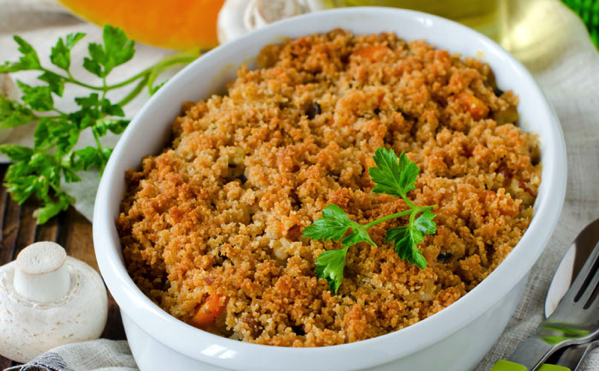 Crumble de poulet à la moutarde à l'ancienne