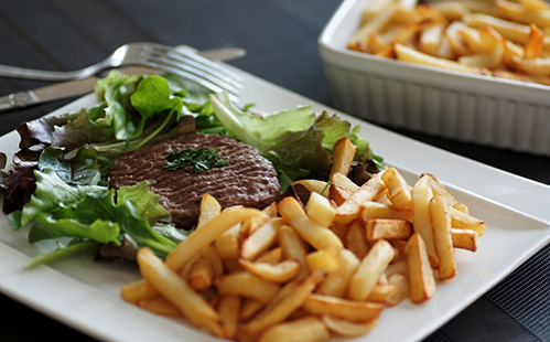Steak haché et frites maison