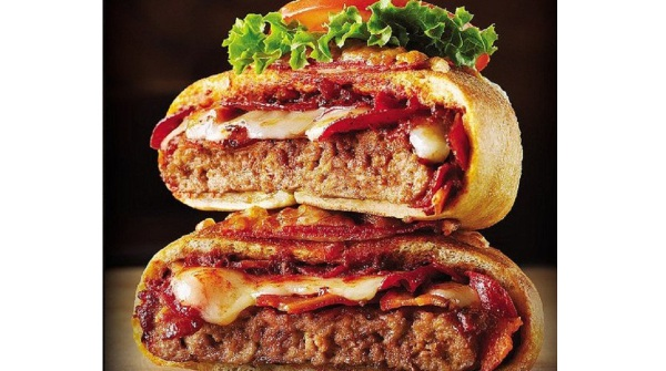 Bacon wrapped pizza burger